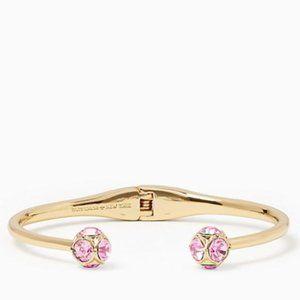 NWOT Kate Spade Gold Tone Pink Rhinestone Bangle